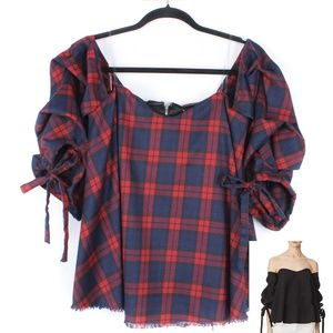 Plaid Off-Shoulder Top Large Bustier Tie Sleeve